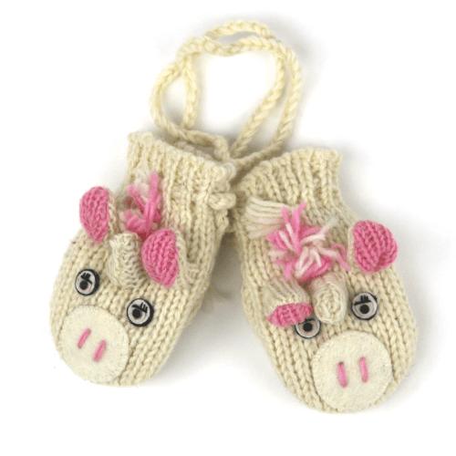 cute unicorn wool mittens