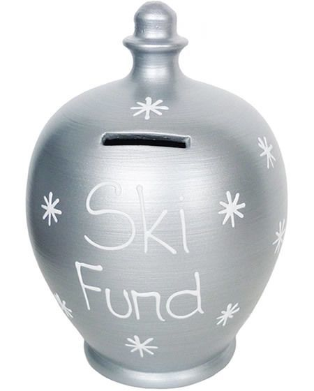 skiing savings pot - money jar