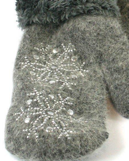 Grey Sparkle Snowflake Mittens